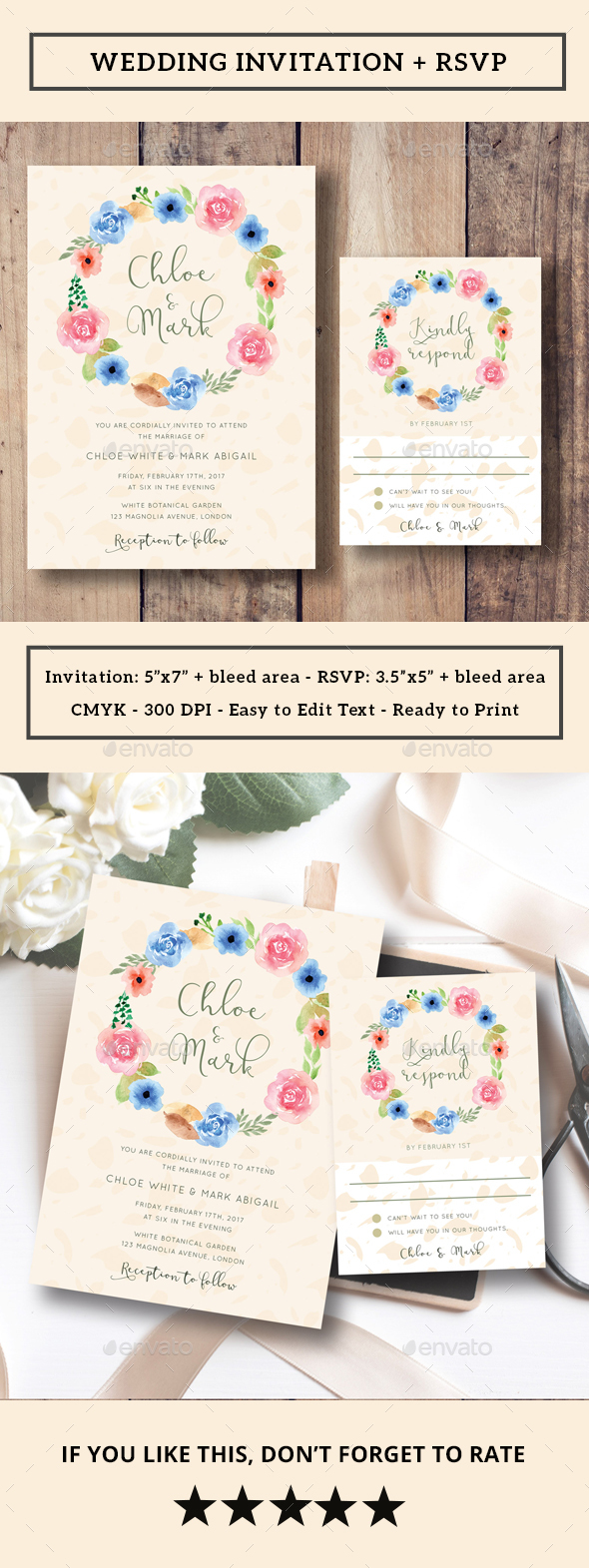 Floral Wreath Wedding Invitation RSVP by iamwulano GraphicRiver