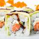 Delicious avocado sushi roll with salmon. - PhotoDune Item for Sale