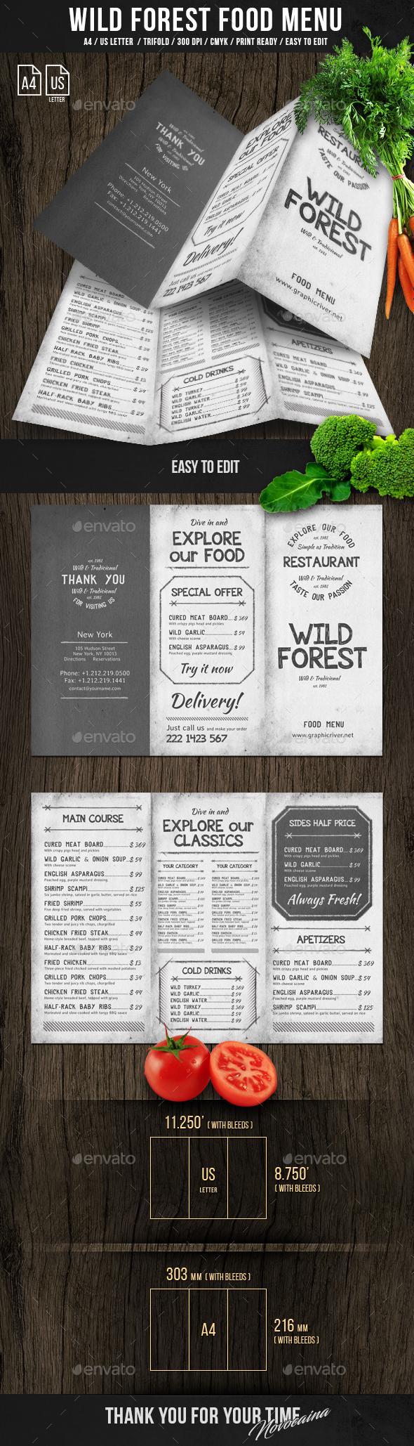 Wild Forest Trifold A4 & US Letter Menu - Food Menus Print Templates