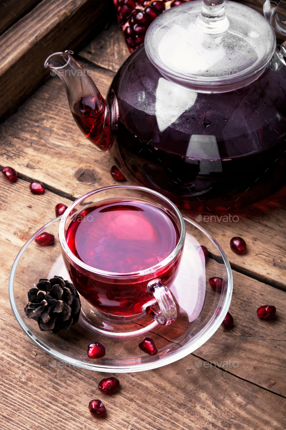 Cup of pomegranate tea - Stock Photo - Images