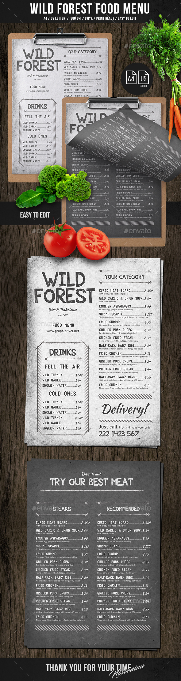 Wild Forest Single Page A4 & US Letter Menu - Food Menus Print Templates