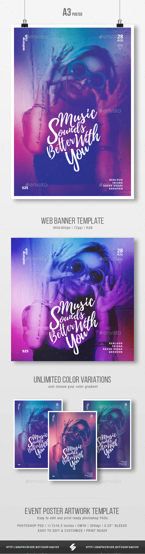Music Sounds Better With You - Party Flyer / Poster Template A3 - Clubs & Parties Events