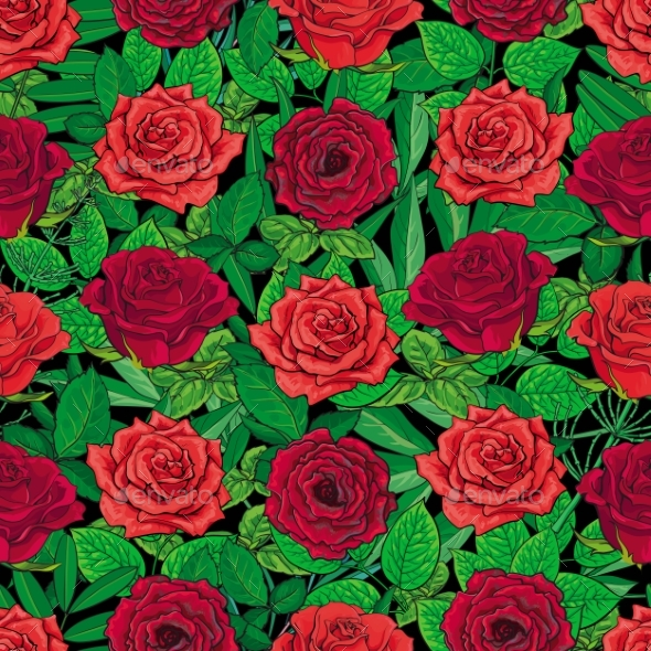 Seamless Pattern of Red Roses and Leaves on Black - Flowers & Plants Nature