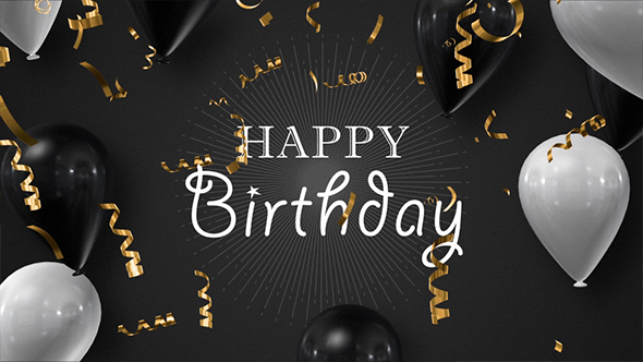 Happy Birthday Fonts ~ Happy birthday golden foil confetti with black and white balloons