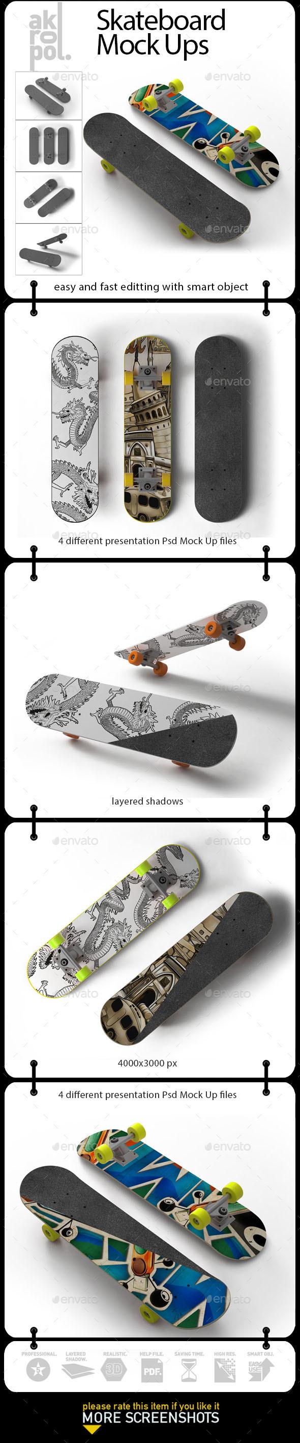 Skateboard Mock-Up - Product Mock-Ups Graphics