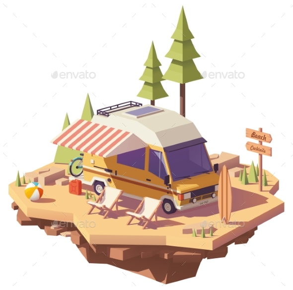 Vector Low Poly RV Camper Van - Man-made Objects Objects