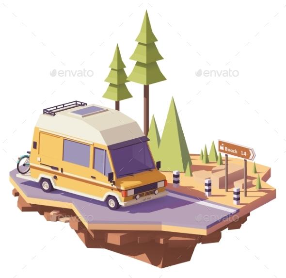 Vector Low Poly RV Camper Van - Travel Conceptual