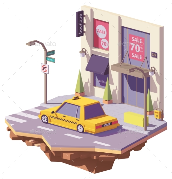 Vector Low Poly Yellow Taxi Car - Man-made Objects Objects