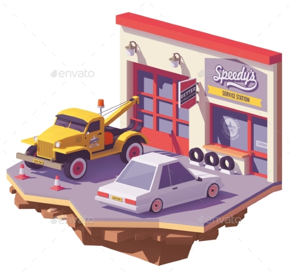 Vector Low Poly Automobile Repair Shop - Man-made Objects Objects