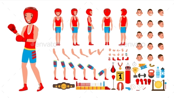 Boxing Player Vector - Sports/Activity Conceptual