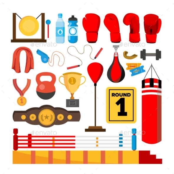 Boxing Equipment Tools Set Vector - Sports/Activity Conceptual