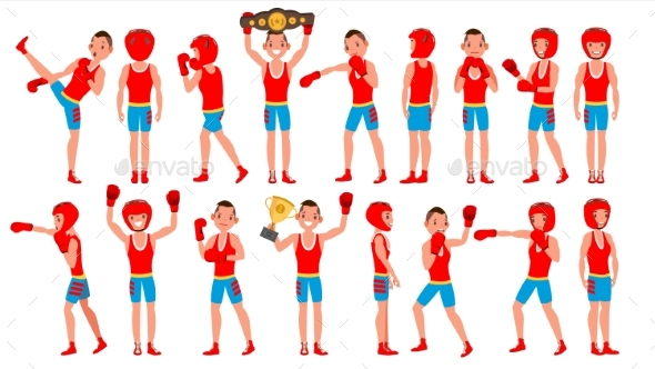 Male Exercising Boxing Vector - Sports/Activity Conceptual