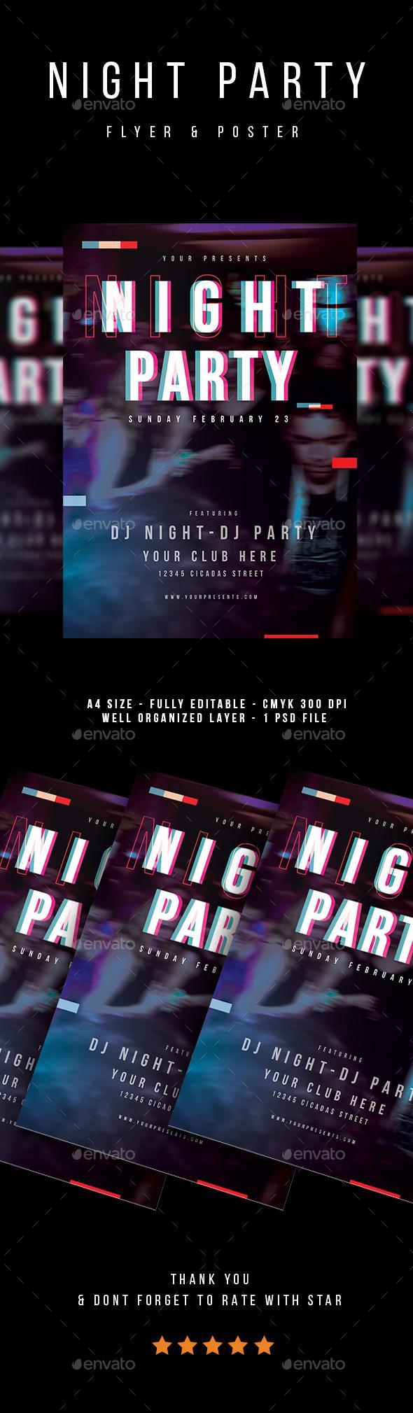 Night Party Flyer - Flyers Print Templates