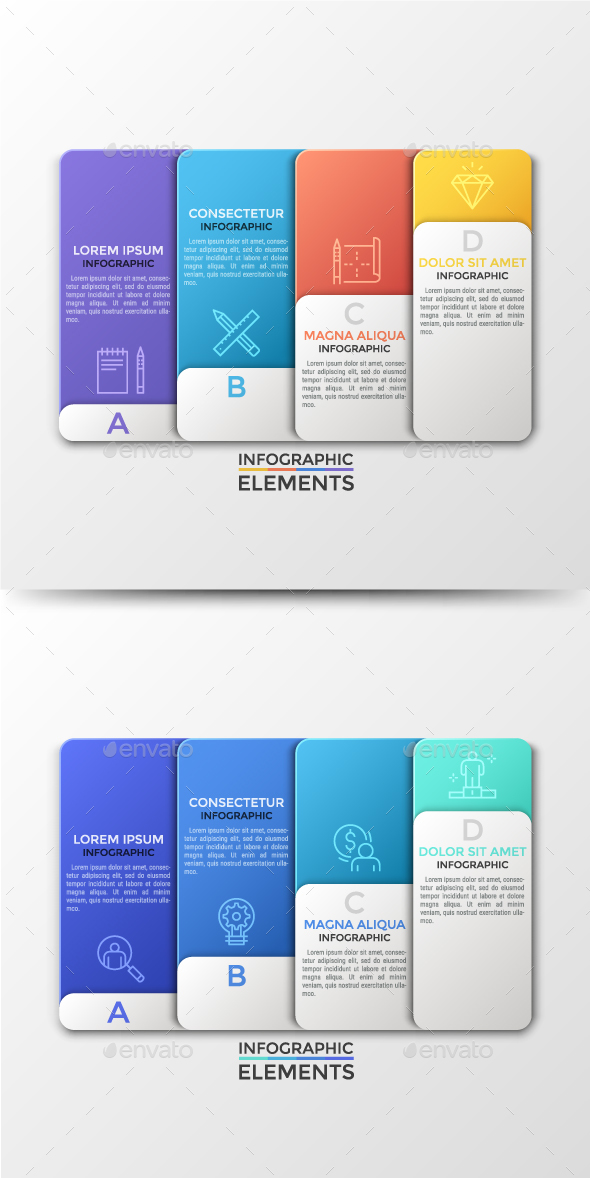 Futuristic Abstract Paper Infographics (2 Colors) - Infographics