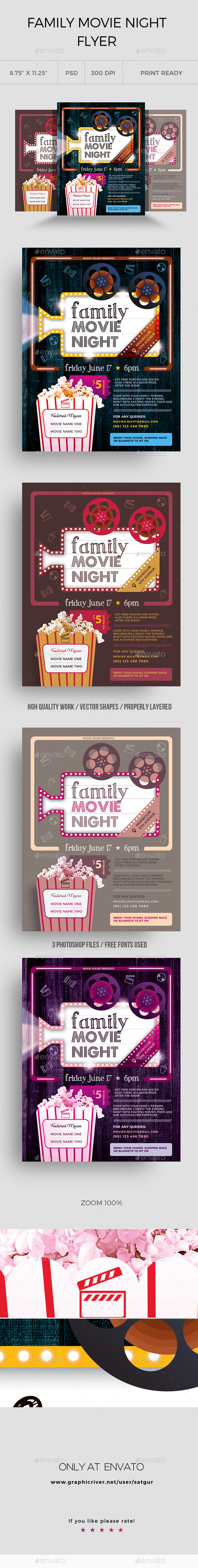 Family Movie Night Flyer - Clubs & Parties Events
