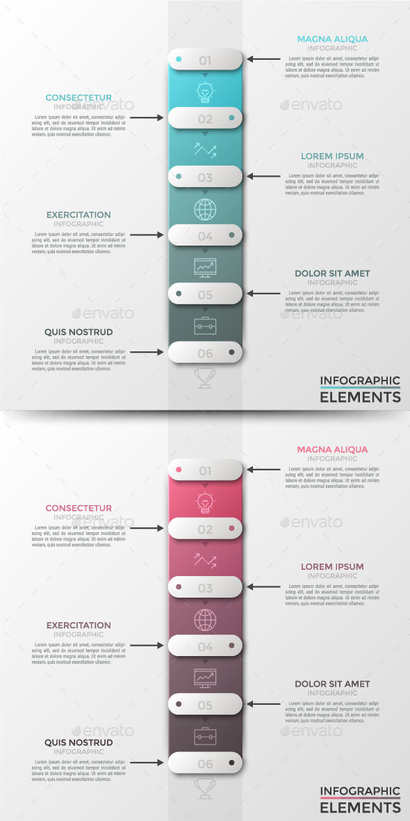 Modern Infographic Paper Timeline(2 Colors) - Infographics