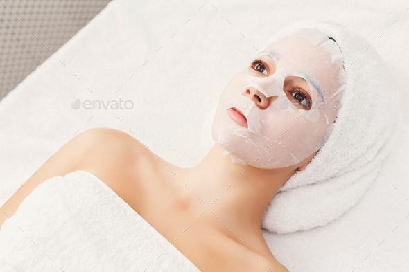 Face mask, spa beauty treatment, skincare - Stock Photo - Images