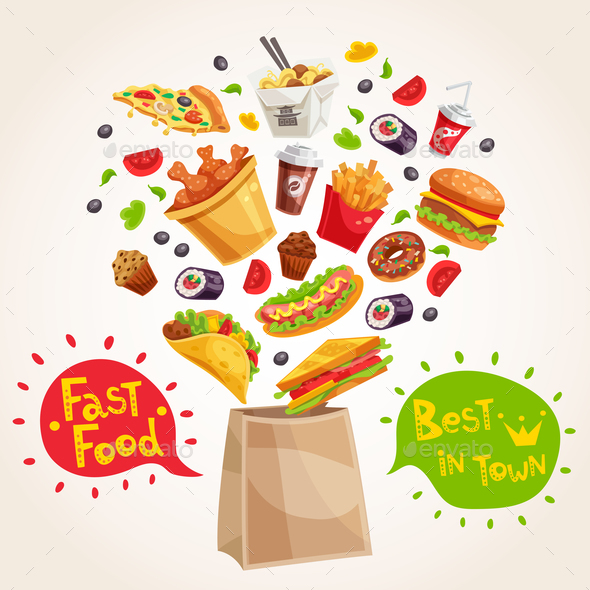 Fast Food Advertising Composition - Food Objects