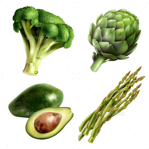 Set of Vegetables in Realistic Style - Food Objects