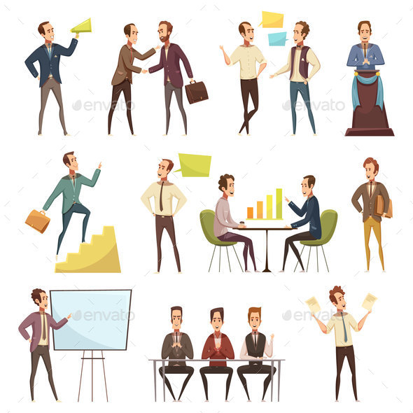 Business Meeting Icons Set - People Characters