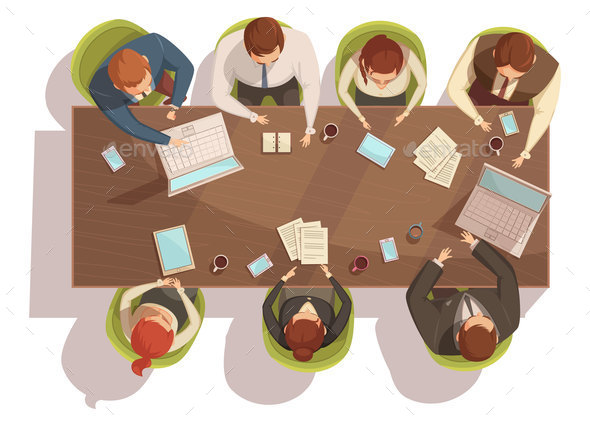 Business Meeting Top View Concept - People Characters