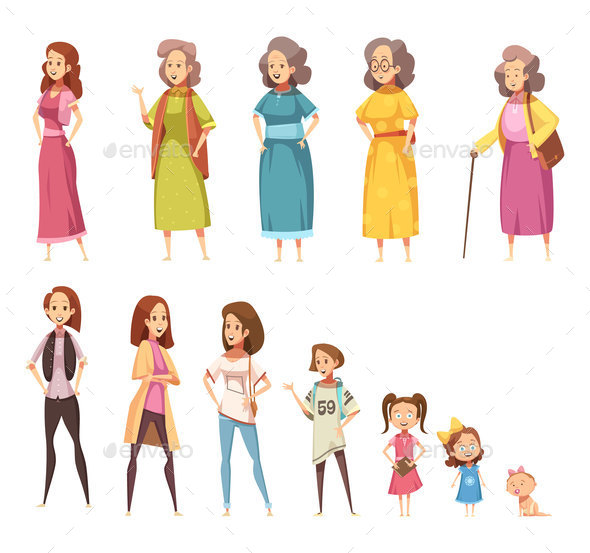 Women Generation Decorative Icons Set - Miscellaneous Vectors
