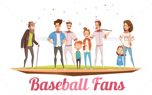 Baseball Fans Family Design Concept - People Characters