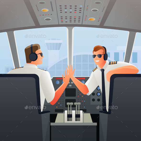 Pilots in Cabin of Plane Illustration - People Characters