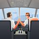Pilots in Cabin of Plane Illustration