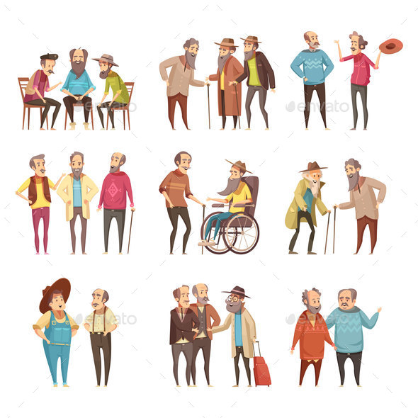 Senior Men Cartoon Icons Set - People Characters