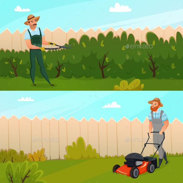 Gardening Work Banner Set - Miscellaneous Vectors