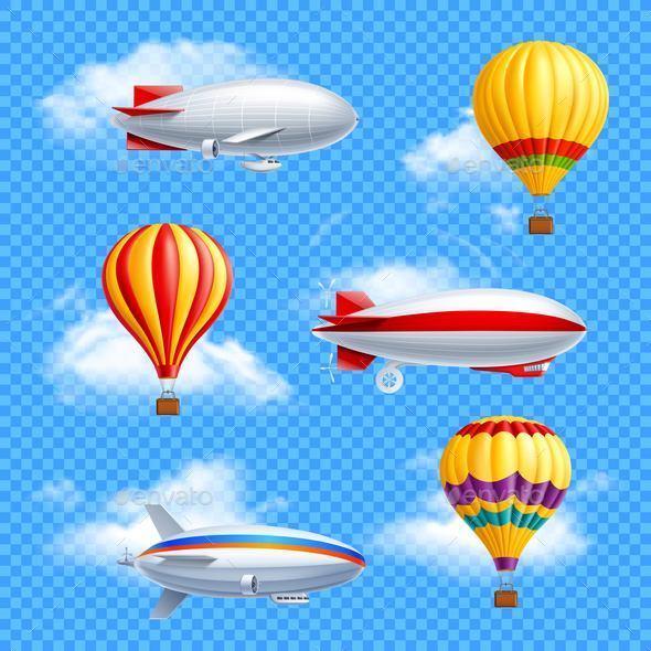 Airship Icon Set - Travel Conceptual