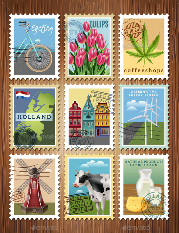 Holland Travel Stamps Set Poster - Buildings Objects