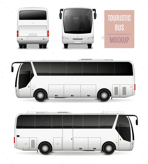 Touristic Bus Realistic Advertising Template - Travel Conceptual