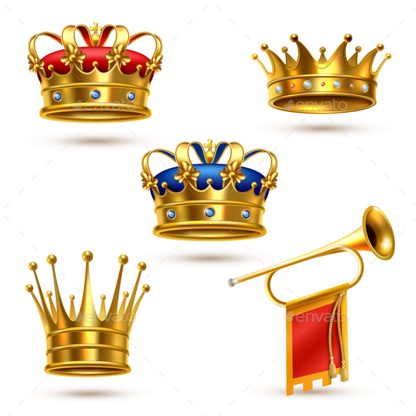 Royals Crowns Horn Realistic Collection - Miscellaneous Vectors
