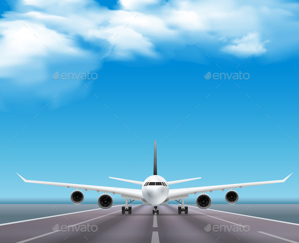 Airplane on Runway Realistic Poster - Travel Conceptual