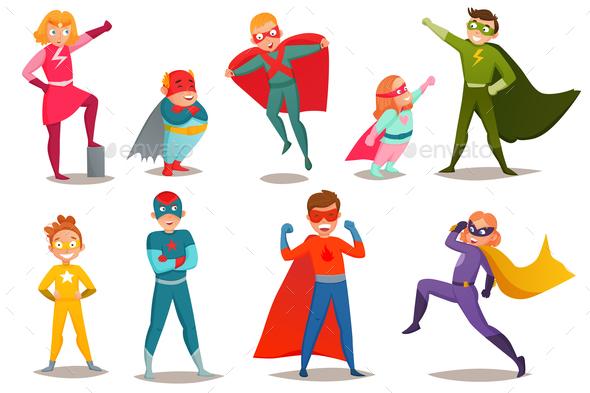 Kids Superheroes Retro Set - People Characters