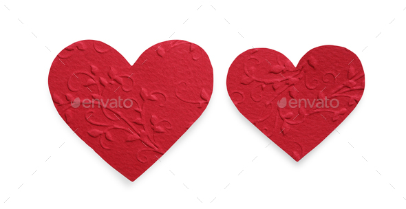 Red felt hearts isolated on white background, valentine day - Stock Photo - Images