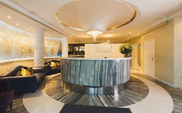 Interior of modern hotel reception - Stock Photo - Images