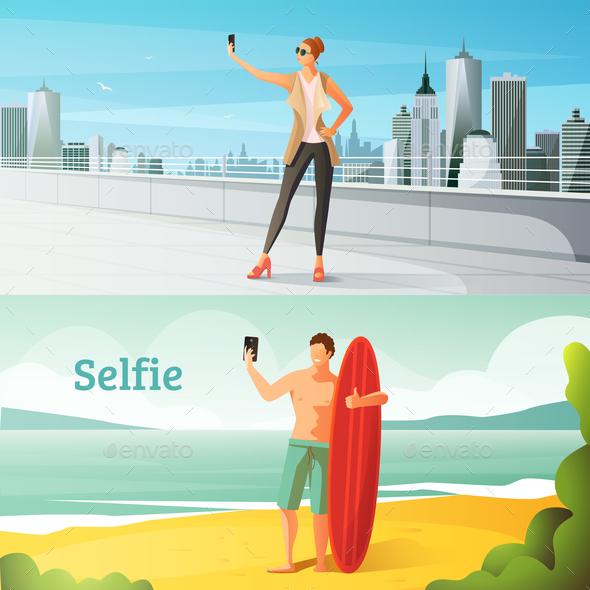 Selfie Horizontal Illustrations Set - People Characters