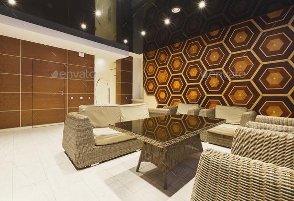 Modern Hotel Lobby With Wicker, Modern Lobby Furniture