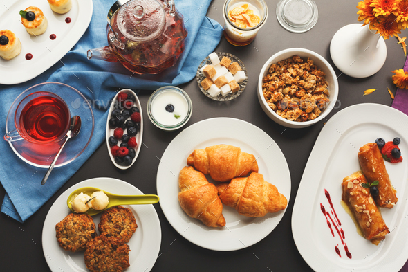 Restaurant breakfast with various sweet treats - Stock Photo - Images