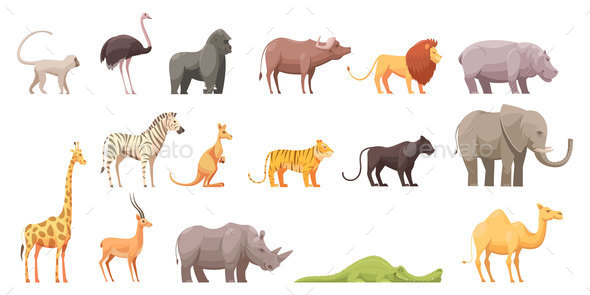 Wild Tropical Animals Set - Animals Characters