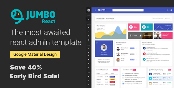 ThemeForest React Material BootStrap 4 Admin Template 20978545