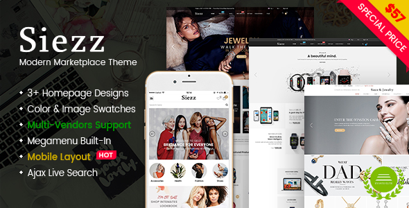 ThemeForest Siezz Modern Multipurpose MarketPlace WordPress Theme Mobile Layout Included 21204130