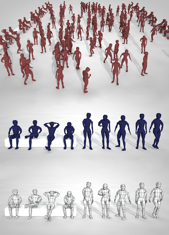Pack of low poly people and rigged model - 3DOcean Item for Sale