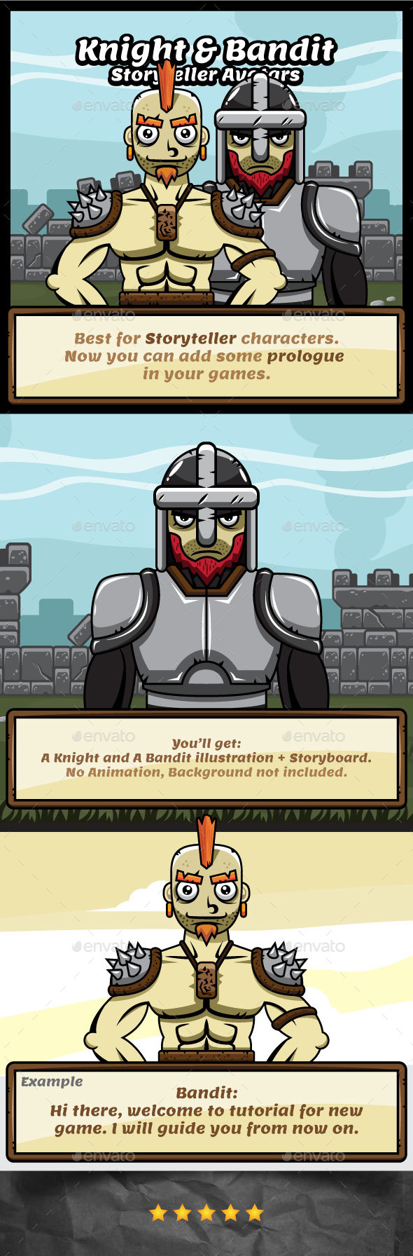 Storyteller Avatar - Knight and Bandit - Medieval Kingdom Theme - Miscellaneous Game Assets