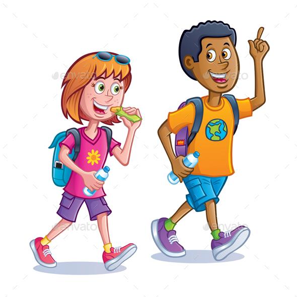 Teens Walking with Backpacks - People Characters