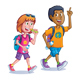 Teens Walking with Backpacks - GraphicRiver Item for Sale