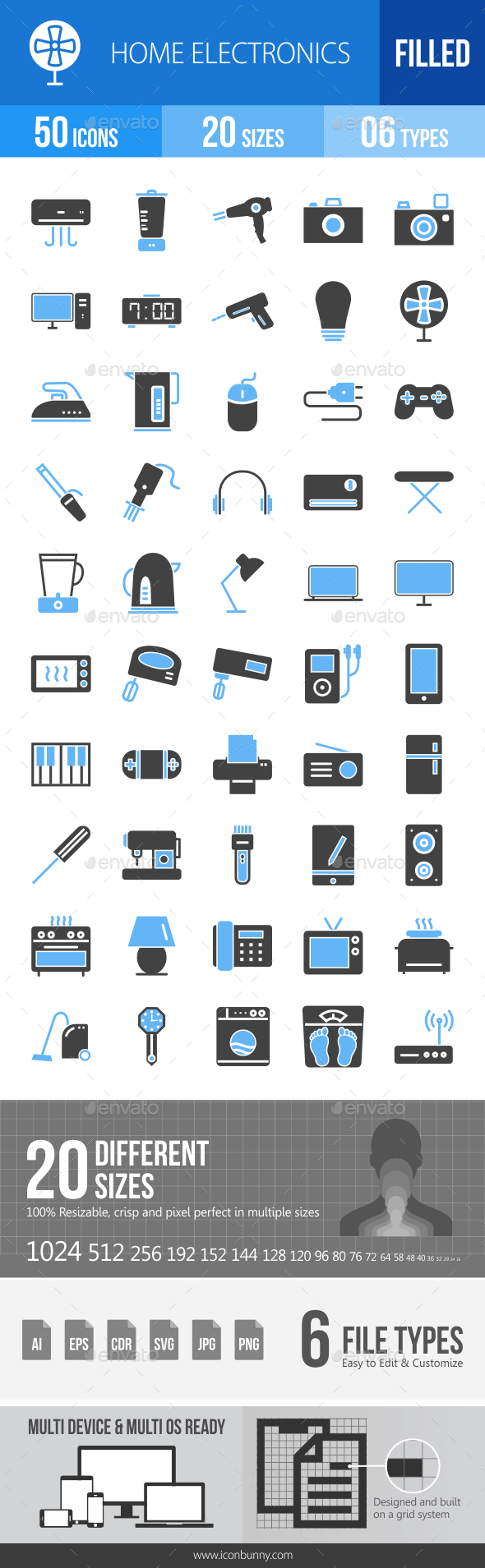 50 Home Electronics Filled Blue & Black Icons - Icons
